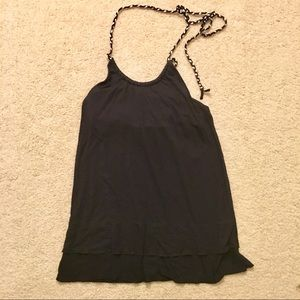 Old Navy black and white braided halter tank top